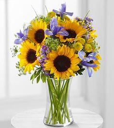 Meant to Shine Sunflower & Iris Bouquet - 15 Stems - VASE INCLUDED