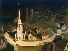 """Paul Revere's Ride, a personal Favorite, by Grant Wood. Grant Wood is also known for his iconic painting, """"American Gothic"""" Paul Revere, Grant Wood Paintings, Oil Paintings, Watercolor Paintings, Artist Grants, Pictures Of America, Landscape Arquitecture, Wooded Landscaping, Luxury Landscaping"""