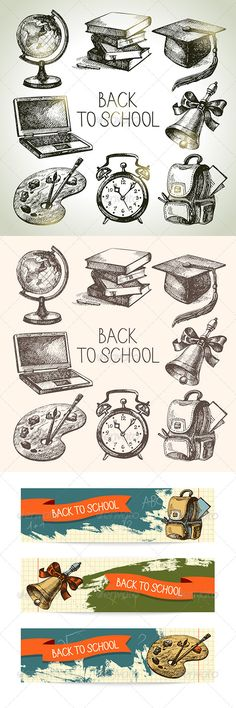 Back to School Hand Drawn Set  #GraphicRiver         Set of hand drawn vintage back to school icons: globe, books, hat, bell, backpack, alarm clock, palette, laptop. Set of vintage school banners.  	 This illustrations can be used in design of printed materials (brochures, invitations, postcards), in web design etc. No bitmaps, only vector used.  	 Zip file contains fully editable EPS 10 vector file, AI CS vector file and high resolution pixels RGB Jpeg image.