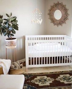 Eco-Friendly crib + earth tones for a happy earth day Boho Nursery, Nursery Neutral, Girl Nursery, Nursery Decor, Nursery Ideas, Babyroom Ideas, Natural Nursery, Nursery Rugs, Baby Room Design