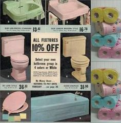 Older homes many times had colored bathroom plumbing fixtures like these(& T.P. to match).