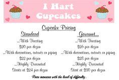 cake prices - Bing Images Baking Business, Cake Business, Cupcake Icing, Cupcake Cookies, Cupcakes For Sale, Cake Serving Chart, Cake Chart, Cupcake Prices, Cake Decorating Tutorials