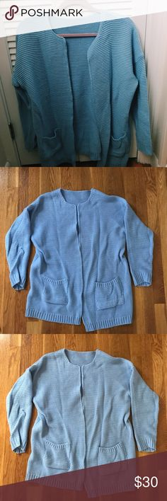 Periwinkle Stretchy Cardigan NWOT, from a Korean boutique. This cute, chic cardigan can top off any statement piece in your outfit! The pastel blue highlights all skin tones and has two pockets in the front. The fabric is super soft and stretchy, so pair it with a tank top or tee and enjoy your day! ✨✨ Sweaters Cardigans