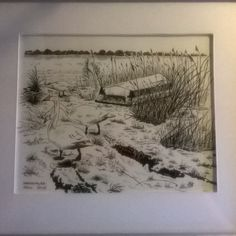 Whooper swans from Limfjorden, Hals Denmark in Black tush by Lone Bruun. #art, #drawing, #swans