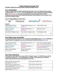 Included are 1 page of guided notes to help students understand how Hispanics tend to:1. name their children2. change a woman's name after marriage 3. introduce themselves with so many namesAlso included are 3 pages of fun practice using celebrities to imagine if we were all Hispanic, what would these celebrities have named their children? $