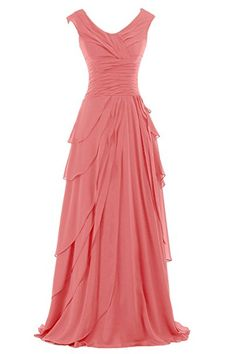 Sunvary Popular Prom Pageant Dress Round-Neck A-line Chiffon Bridesmaid Gown at Amazon Women's Clothing store: