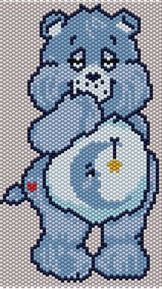 Bedtime Bear from the Care Bears Brick/Peyote Pattern 53 Columns X 73 Rows (Pattern by me, Man in the Book) Pony Bead Patterns, Peyote Patterns, Beading Patterns, Cross Stitch Patterns, Kandi Patterns, Bracelet Patterns, Safety Pin Crafts, Pony Bead Crafts, Beaded Banners