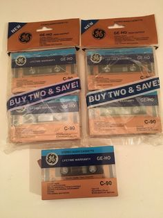 Lot of 5 Blank Cassette Tapes GE-HO C-90  90 minutes Normal Bias QUALITY AUDIO #GE