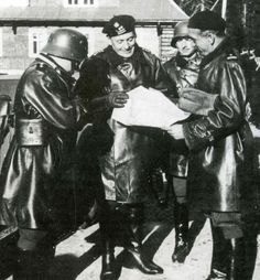 """Polish Officers with General Maczek's """"Black Brigade"""" 