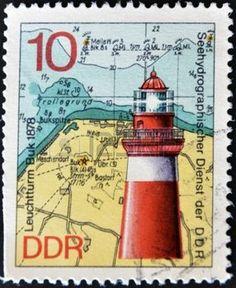 marine tower: REPÚBLICA FEDERAL DE ALEMANIA - CIRCA 1974: Un sello impreso en la República Federal de Alemania muestra la imagen de la Buk Faro Leuchtturm 1878, alrededor de 1974. Foto de archivo
