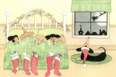 Dachshunds nestled all snug in their bed on Christmas Eve / Lynch signed folk art print