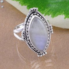 EXCLUSIVE 925 SOLID STERLING SILVER  MOONSTONE RING 5.33g DJR2493 S-6 #Handmade #Ring