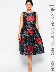 Chi Chi London Plus - Vestito longuette con rose oversize