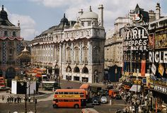 """vintagegal: """"Piccadilly Circus photographed by David Boyer, 1953 (via) """""""