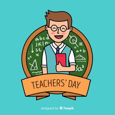 Hand drawn world teachers' day with man . Happy Teachers Day Wishes, Wishes For Teacher, Teachers Day Greetings, Teachers Day Card, Teacher Gifts, World Teacher Day, World Teachers, Teachers Day Drawing, Teachers' Day