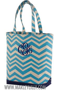 Monogrammed Blue and Navy Chevron Tote