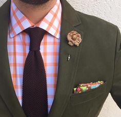 Olive Green Blazer, Orange Shirt, Maroon Tie, Khaki Lapel Pin