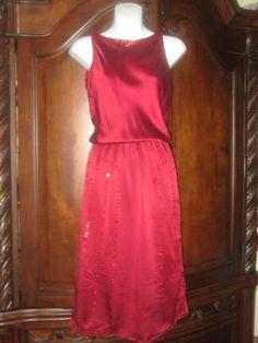 Victoria's Secret Moda International Red Silk Sequin Dress Size 2 #ModaInternational #Blouson #Cocktail