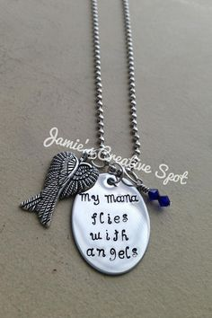 Hand Stamped Remembrance Necklace My Mom by JamiesCreativeSpot---Mine is going to say Lynda flies with angels with the angel wings and a birthstone and I'm looking for a small autism charm to hang with it.