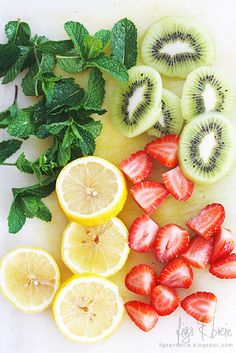 Add to one or a combination to add a flavorful punch to your water or tea: mint leaves, kiwi, strawberries, lemon ...