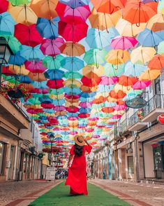 Umbrella street showering beautiful colors in Portugal. Spain And Portugal, Portugal Travel, Portugal Trip, Travel Pose, Travel Photos, Places To See, Places To Travel, Umbrella Street, Dubai Travel