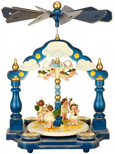 Beautiful Hubrig Christmas Pyramid - priginal from the German Ore Mountains. 1-tier Pyramid Angel Orchestra - 35 x 25cm / 14 x 10inch