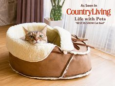 Moccasin Pet Bed for shoe lovers! Cats love shoes! Dogs love shoes! A shoe shaped pet bed is like a pets dream come true! Made with faux sherpa and faux suede to provide comfort and durability, no animals were harmed for making our beds. Made in the USA, this original design ultra cozy