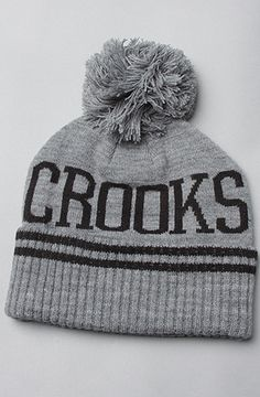 Crooks And Castles The mens Knit Pom Beanie in heather and black