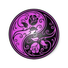 This would make an awesome tattoo!Yin Yang Roses, purple and black Round Stickers by Jeff Bartels