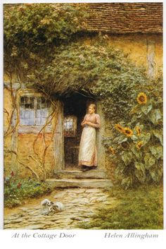 The Athenaeum - At the Cottage Door; Helen Allingham (1848 –-1926) was an English watercolour painter and illustrator of the Victorian era.