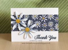 handmade thank you card ,,, daisy theme .... patterned paper band and a pair of die cut daisies ... great basic layout ... Stampin' Up!