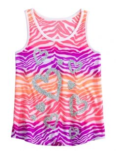 pink purple and peach zebra striped tank top w/ silver hearts Crop Top Outfits, Cool Outfits, Cute Fashion, Teen Fashion, Katies Fashion, Justice Clothing, Cheerleading Outfits, Printed Tank Tops, Girls Shopping