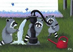 ACEO,  PRINT,  RACCOON, WATER PUMP, BUTTERFLY