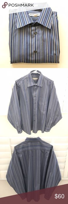 """🦄PRONTO UOMO non-iron dress shirt Perfect shirt for work, weekend, weddings, date night, school dances (prom), special occasion (Father's Day)  👔 Pit to pit 26"""" 👔 Sleeve 25"""" 👔 Shoulder 21"""" 👔 Length 32.5"""" Pronto Uomo Shirts Dress Shirts"""