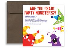 Kids Party Monster Printable Birthday Invitation 5x5 in. Square