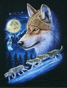 Rock Eagle T-Shirt Wölfe: WOLF-Kopf+ RUDEL,Gr.3XL, Western Biker Triker Indianer | eBay