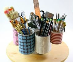 Art Supply Rack out of Tin Cans