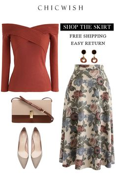 Floral Faux Suede Skirt - Outfits for Work Classy Outfits, Chic Outfits, Fall Outfits, Look Fashion, Unique Fashion, Womens Fashion, Fashion Trends, Winter Fashion, Modest Fashion