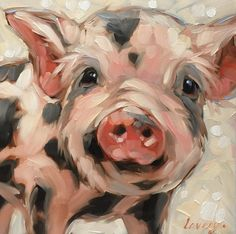 "Pig painting, Original impressionistic oil painting of a sweet little piggy.  6x6"" on panel, pig artwork, pigs. *Pre-Order"
