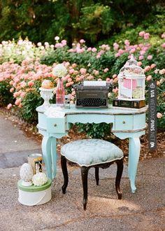 Vintage Fantasy Registry Table... Alan has a type writer already :)