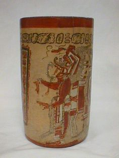 Cylinder vase with standing deity, Mesoamerica,  Pre-Columbian,  ca. 600-900 B.C.