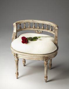 Artists' Originals Bench White Ivory Cotton Hobnail Fabric Vanity Stool