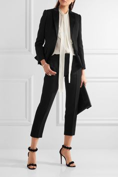 Black wool and silk-blend Button fastenings through front 73% wool, 27% silk; trim: 70% silk, 30% polyester; lining: 100% cupro Dry clean Made in Italy
