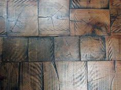 When we were hunting for a affordable flooring solutions for theLaboratory we came across a wood floor we had never seen before in a store in Soho: it wa End Grain Flooring, Brick Flooring, Vinyl Flooring, Flooring Ideas, Garage Flooring, Reclaimed Wood Projects, Diy Wood Projects, Pallet Wood, Log Home Floor Plans