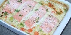 Laks i ovn - de bedste opskrifter Danish Food, Cheeseburger Chowder, Tuna, Creme, Salmon, Food And Drink, Soup, Thanksgiving, Keto