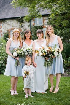 hellblaue Kleider für Brautjungfern