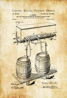 Beer Tap Patent Poster - Patent Print Wall Decor Bar Decor Beer Patent Beer Poster Beer Keg Patent Beer Art Beer Tap Bar Decor by PatentsAsPrints
