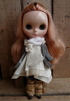 Blythe--adorable outfit, and somehow, black soulless eyes. ;-)