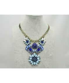 Hot Sale Glisten Gem Exaggerate Flower Alloy Necklace Free Shipping High Quality