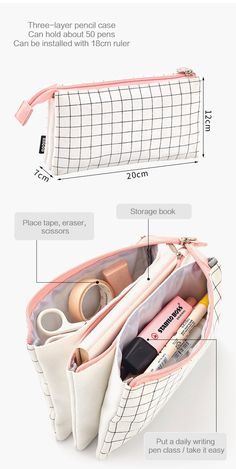 Aesthetic Check Pencil Cases – NotebookTherapy - Diy and crafts interests Cute Pencil Case, School Pencil Case, Pencil Bags, Pencil Pouch, Middle School Supplies, Pochette Diy, Stationary School, Stationary Design, Menu Design